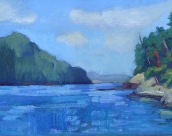 San Juan Island Seascape//Burrows Island WA//Original Oil Paint on Board 6 x 11 Inches//Blue Sea and Sky//Forested Landscape