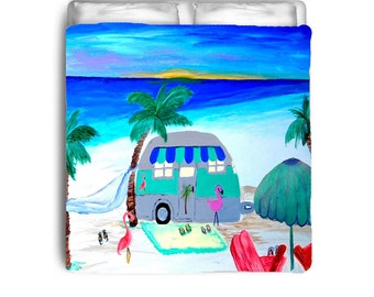 Air stream camper on the beach comforter or duvet cover from my art