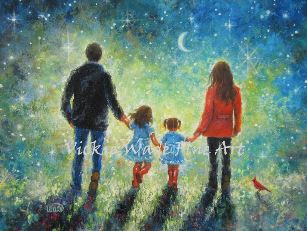 Familia arte Print arte de hermanas a pie de noche padre