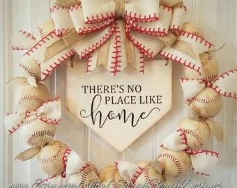 Baseball Wreath with Ivory Burlap Bow- Coach's Gifts- Baseball - Front Door Wreath - There's No Place Like Home- Spring Wreath Summer Wreath