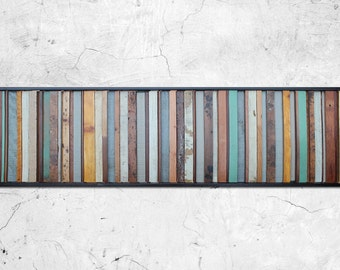 "Reclaimed Wood Art - ""Savannah"" - Reclaimed Wood in Blues, Tans, and Browns - Modern Wood Wall Sculpture Abstract Minimalist"