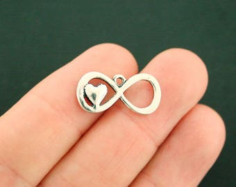 8 Infinity Heart Charms Antique Silver Tone - SC7321