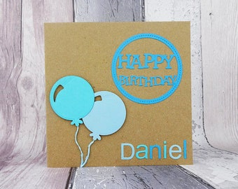 Balloon birthday card with a name, Personalised Happy Birthday card, Colour choice, Balloons, Card for him, Card for her, Personalized