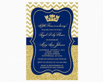 Prince Baby Shower Invitation, Little Boy Prince, Crown, Royal Blue, Gold Glitter, Personalized, Printable or Printed