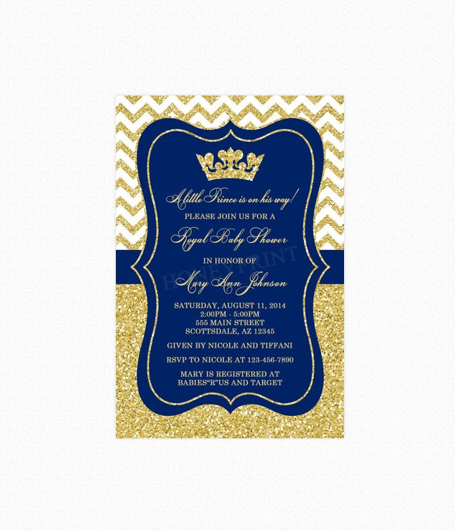 Prince Baby Shower Invitation Little Boy Prince Crown Royal