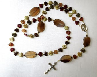 Long Earth Tone Catholic Rosary of Glass Leaf Beads and Agate with Miraculous Medal Center