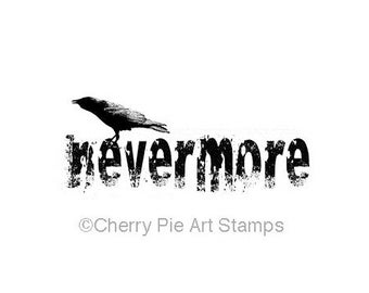 NEVERMORE, crow, RaVeN, Edgar Allan POE- CLiNG RuBBer STaMP L342