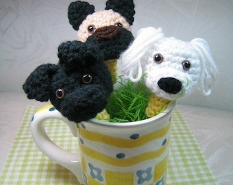 Puppy Pencil Toppers Crochet Pattern - PDF File