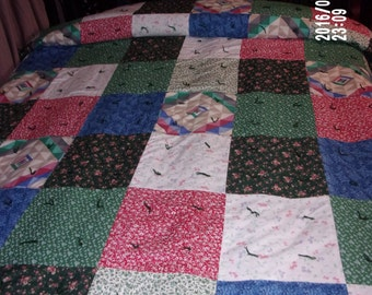 ColorCozy, a hand-made, hand-tied, queen/king cotton quilt, red, blue, green, white