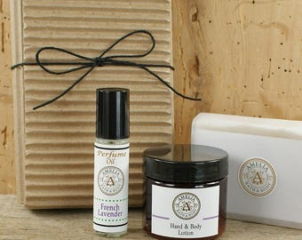 French Lavender Set of 3 Items | Lavender Oatmeal Soap, Body Lotion, Roll On Perfume Oil, Vegan Gift Idea, Natural Soap Gift Set, Relaxation