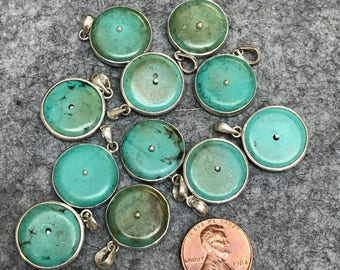 Turquoise and Silver Charm/Pendant from Nepal