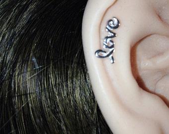 Mini Love Cartilage Earring - Single cartilage - Love Stud Earring,  Love Studs Earrings, Stud Earrings, Tiny Earrings, Handmade