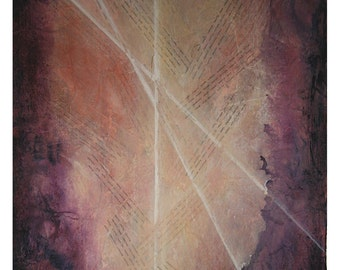 Book of Life Collage- 22x30- Mixed Media- Acrylic Abstract on Paper- Hidden C Names, Light Rays, Spiritual- Purple, Cream, Pink