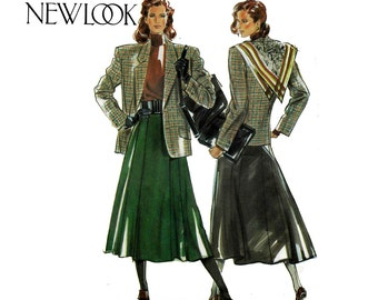 New Look 6025 Womens Jacket / Blazer & Flared Skirt Pattern Size 8 - 18 Bust 31 1/2 - 40 inches UNCUT Factory Folds