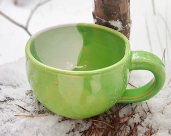 Green ceramic mug 500 ml mug Large mug Big mug Father gift Pottery mug Large coffee mug Large tea mug Mugs pottery Thrown mug Rustic mug