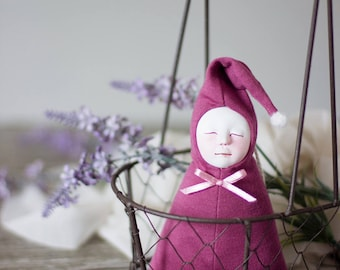 Lavender filled art doll, crib decor, it's a girl gift, fragrant lavender sachet, baby shower favors, mothers day gift, baby girl room decor