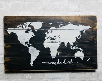 Wanderlust World Map Large, handpainted, rustic wood sign, wooden sign, world map, wanderlust, map, wood map, rustic decor, signs