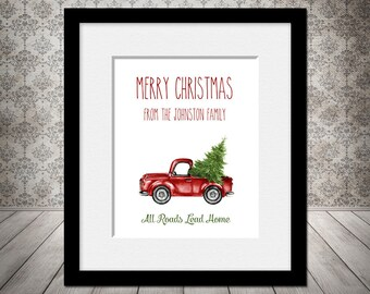 Vintage Christmas Truck Art Print, Rae Dunn Inspired, Holiday Decoration, Red Christmas Tree Truck, Red Vintage Truck, Christmas Tree