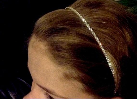 Crystal Hair HeadBand w/ Swarovski Jewels Minimalist Pageant Prom Bridal Tiara Comb Headpiece Bling Silver tone Jewelry Wedding Accessory