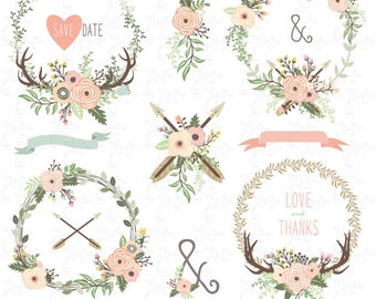 "Floral Wreaths clip art ""TRIBAL FLORAL WREATH"" clipart, Vintage Floral, Tribal Wreath, Wedding, Invitation. 19 Png images, 300 dpi. Wd163"