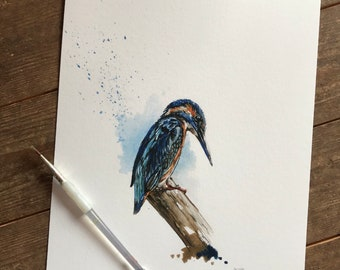 Kingfisher Watercolour, Giclee Print, Fine Art Print, Home Decor, Kingfisher Painting, Watercolour Bird, Gift Ideas