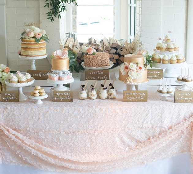 Blush Pink Apricot Sequin On Tulle Overlay Tablecloth Dessert