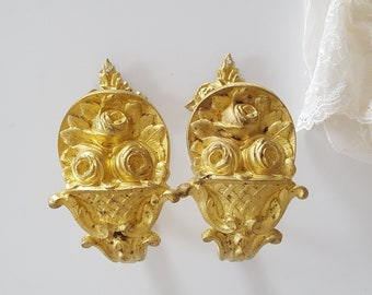 2 antique French bronze curtain tie back hook Ornate drapery holder Roses in basket