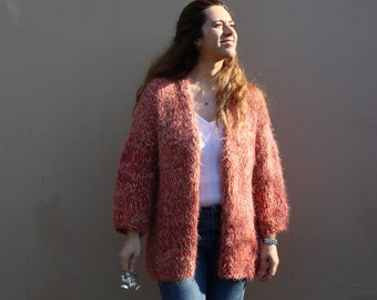 Oversized slouchy chunky knit cardigan, Salmon pink knit jacket, ombre tweed handknit cardigan, bulky chunky cardigan, chunky knits