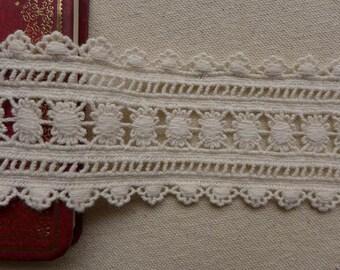 """Beige Cotton Lace Trim, Antique Crochet Cotton Lace Fabric Trim, Ecru Cotton Lace 2.16"""" wide 2 Yds"""