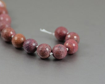 Stone Fancy Jasper in Dusty Mauve Faceted Rounds 10mm