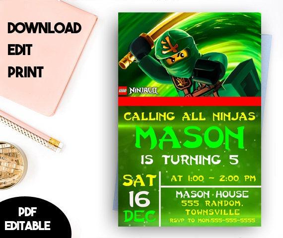 Ninjago Invitation Ninjago Birthday Ninjago Invitation
