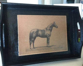 Laquered Equestrian Tray