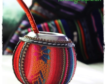 Aguayo Mate Gourd covered with traditional Andean textile Aguayo Fabric & metalic virola