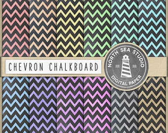 CHALK ZIG-ZAG, Chalkboard Chevron Digital Paper Pack | Scrapbook Paper | Printable Backgrounds | 12 Jpg, 300dpi Files | BUY5FOR8