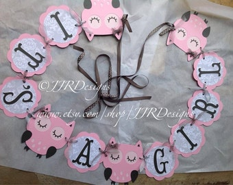 Owl Baby Shower Banner - Baby Shower Banner- Owl It's a Girl Banner- Gray and Pink Owl Banner- Pink and Gray Baby Shower Banner