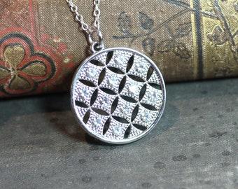 Crystal Necklace Silver Lattice Pendant Necklace Repurposed Parts