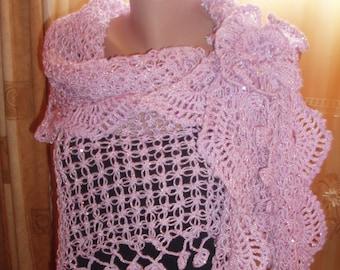 Handmade crochet shawl /Bridal crochet shawl /Women Triangle Shawl/  Crochet Light Purple Ruffle Shawl Wedding Bridesmaid Bridal Accessories