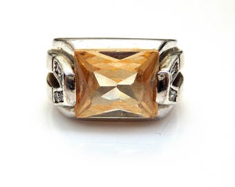 Sterling Silver Golden Topaz Cubic Zirconia Accent Signet Ring