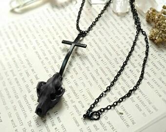 Skull Wolf Cross Blake Pendant Necklace, Skull jewelry, Cross jewelry, Gothic jewelry, Gothic victorian necklace, Gothic pendant
