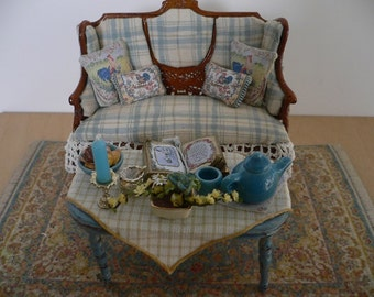 Dollhouse Miniature One Inch Scale Loveseat and Coffee Table