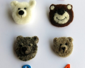 Needle felted brooch - bear needle felted brooch - Bear pin - needle felted pin - animal  brooch - clothing accessory - uk seller