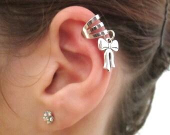 Silver Bow ear cuff