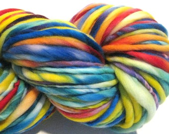 Bulky Handspun Yarn All Together Now 116 yards hand dyed merino rainbow yarn waldorf doll hair knitting supplies crochet supplies