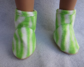 18 in doll boots, fleece boots. Handmade doll shoes, 18 in doll footwear, green and white print boots