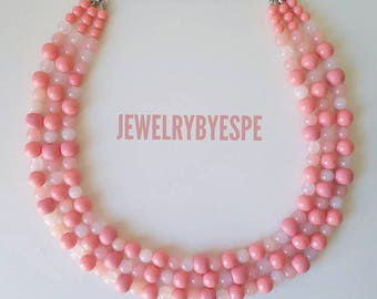 Statement Necklace Blush Pink Necklace Wedding Jewelry  Multi Strand Necklace Coral Pink Necklace Chunky Bib Layered Necklace