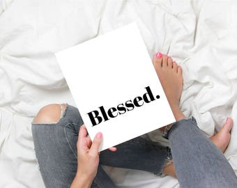 BLESSED Modern Minimal Christian Scripture Faith Art Print by MERCY INK