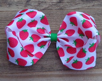 Strawberry Hair Bow~XL Boutique Hair Bow~Big Hair Bow~Large Strawberry Bow~Strawberry Bow~Hair Bows~Hair Bows for Girls~Birthday Hair Bow