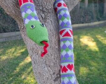 Crochet Pattern-- Shape Teaching Fair Isle Snake --Crochet Pattern