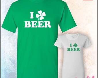 I Love Beer • 4 Leaf Clover Design • Great St. Patrick's Day Tee or any time there's a party • Mens #5000 • Ladies #5000L