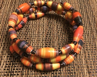 Colorful unique orange, yellow & black bracelet FREE SHIPPING Recycled Paper Bead Coil Bracelet with hematite spacer beads B028.3.32 Marlis